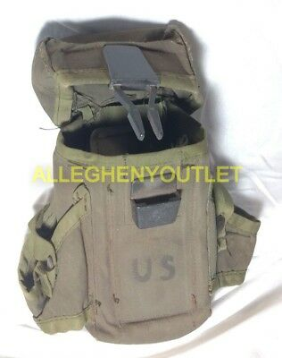 US Military Army OD Ammo Pouch Case Alice Mag Pouch 3 Magazines GC