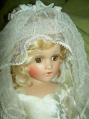 "Early Madame Alexander, 18"" compo BRIDE doll tagged & signed~needs torso repair"