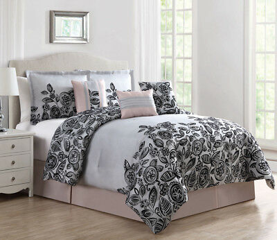 7 Piece Betha Blush/Gray/Black Comforter Set