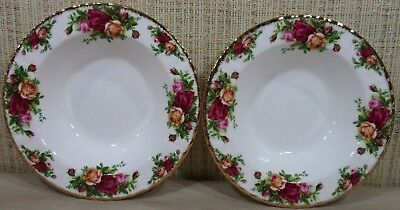 2X Royal Albert Old Country Rose Set 2 Rim Soup Bowls Cereal Bowls Never Use