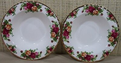 2X Royal Albert Old Country Rose Set 2 Rim Soup Bowls Cereal Bowls Never Used