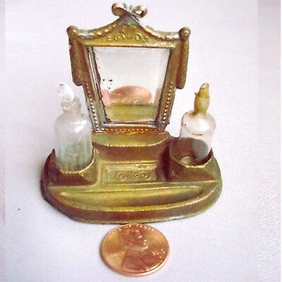 Antique German Dollhouse Gilt Metal Dresser Set, Beveled Mirror, 2 Glass Bottles