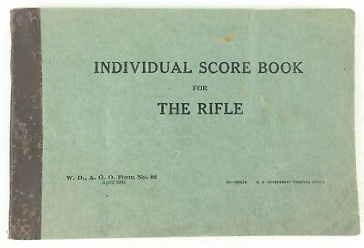 Vintage Original Individual Score Book for The Rifle US Military 1941 WWII WW2