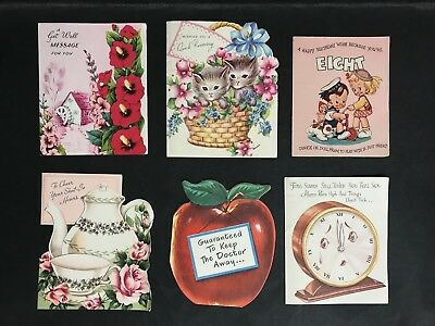 VINTAGE LOT OF 6 GET WELL GIFT CARDS & 1 BIRTHDAY CARD FROM 1940's/50's