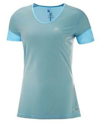 Salomon Trail Runner Womens Short Sleeve Running Tee S18 - Blue Curacao/Charcoal