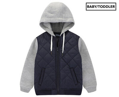 BQT Baby Boys' Quilted Jacket w/ Hood - Navy