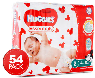 Huggies Essentials Infant Size 2 4-8kg Nappies 54pk