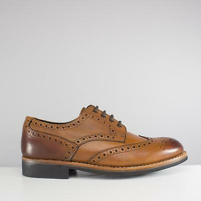 Catesby Shoemakers EDVIN Mens Formal Office Smart Lace Up Derby Brogue Shoes Tan