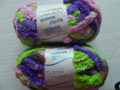 lot of 2 Needle Crafters Jumbo Shimmer Chenille yarn 11 yds ea Sweet Pea