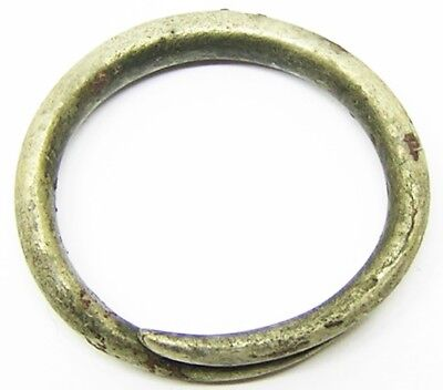 3rd century BC Ancient Celtic Iron Age Silver Spiral Torque Finger Ring Sz P 1/2