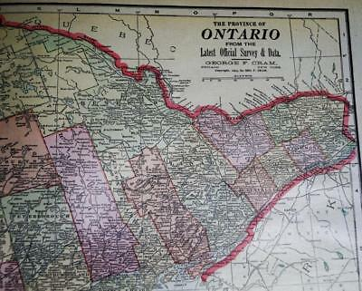 Province Of Ontario Canada Atlas Map Page Plate 1903 Vintage George F. Cram
