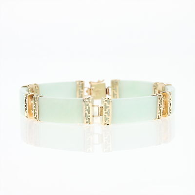"Jadeite Curved Link Bracelet 7"" - 14k Yellow Gold Women's"