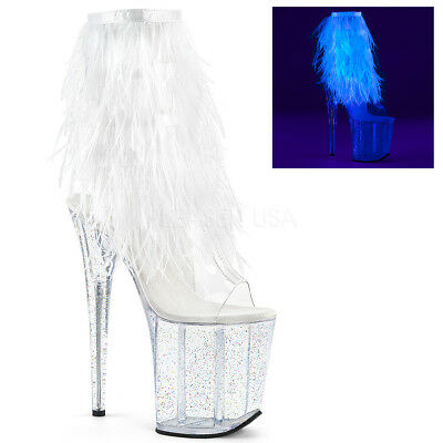 "8"" White Feathers Fringe Glow in the Dark Dancer Stripper Heels Boots size 10 11"