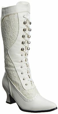 White Lace Up Victorian English 19th Century 1800s Civil War Walking Boots Shoes