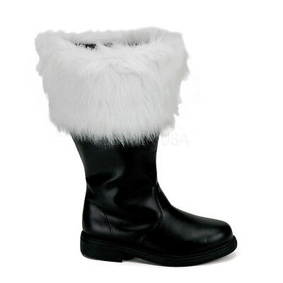 Mens Santa Claus Father Christmas Wide Calf Big Leg Costume Boots Mens size 9 10