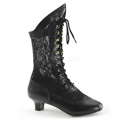 Black Vintage 1920s Flapper Girl Lace Up Steampunk Boots Womans Costume Shoes