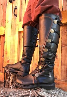 Black Medieval Knight Renaissance Faire Game of Thrones Costume Mens Boots New