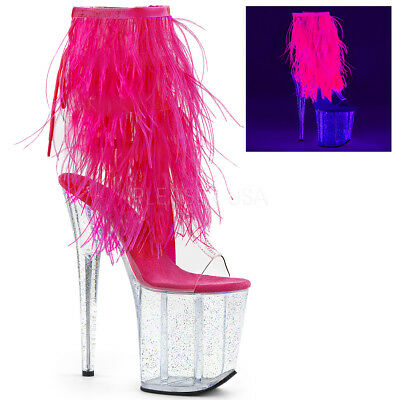 "8"" Clear Pink Feathers Glow in the Dark Dancer Stripper Heels Boots size 9 10 11"