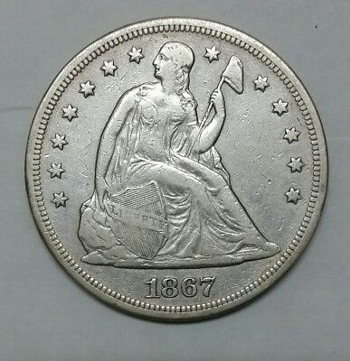 1867 $1 Seated Dollar Silver Coin Lot# MZ 4639