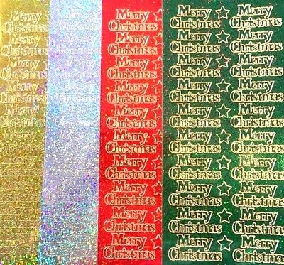 Sparkly Merry Christmas Peel Off Sticker Sheet Card Making Craft Glitter