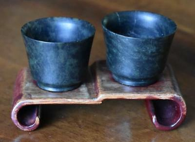 S/2 Antique Chinese Carved Spinach Jade Wine / Sake Cups On Tiered Stand