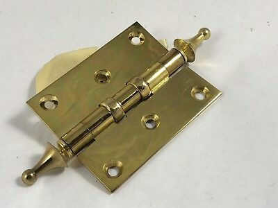 "Brass Hinges w/ Fancy Finial Door Cabinet or? Windsor or Steeple Top 2 1/2"" x 3"""