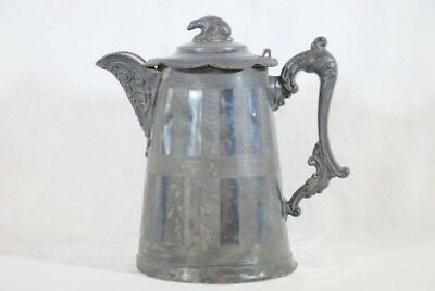 Large Victorian Ornate Silver Plate Bear Topped Water Pitcher Ewer W/hinged Lid