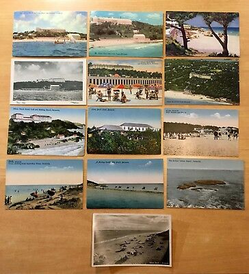 Lot of 13 Antique & Vintage Postcards ALL ELBOW BEACH, PAGET PARISH, BERMUDA