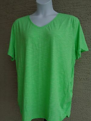 Just My Size Cotton Blend Shirred Sides V Neck Tee Shirt  Heather Fabric 1X