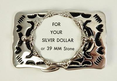 Heart Belt Buckle Rhodium Silver Plated with 38mm For Silver Dollar Or Stone