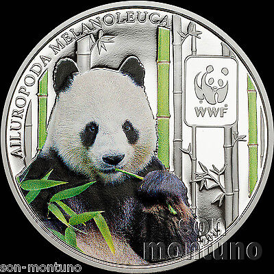 2015 Central African Republic GIANT PANDA Colored Silver Plated COPPER Coin WWF