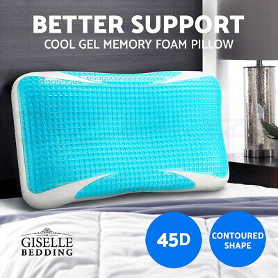 Giselle Bedding Memory Foam Pillow COOL GEL Top High Density Contour Standard