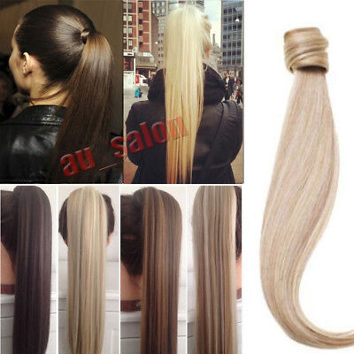 Women Wrap Around on Ponytail Hair Extensions Real Natural Long Thick as Human