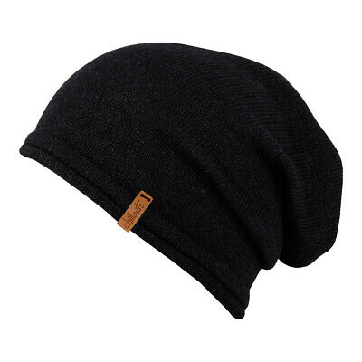 Chillouts UNISEX BERRETTO LEICESTER ONG SLOUCH BEANIE LANA MADE IN EUROPE NERO