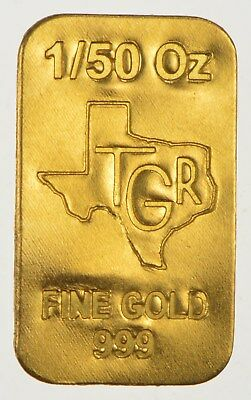 1/50 th TROY OUNCE OZ GOLD 24K PURE  SOLID PREMIUM BULLION BAR 999.9 FINE