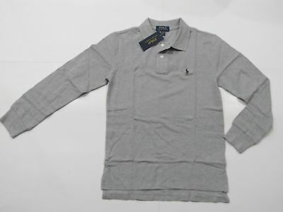 New with tag NWT Boys Ralph Lauren Andover Grey Long Sleeve Polo Shirt M L XL