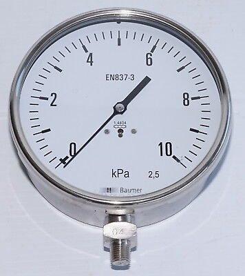 Baumer EN837-3 150mm 10kPa Pressure Gauge, Stainless Steel