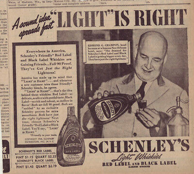 1938 newspaper ad for Schenley's Whiskey - Edward Champon New Orleans bartender