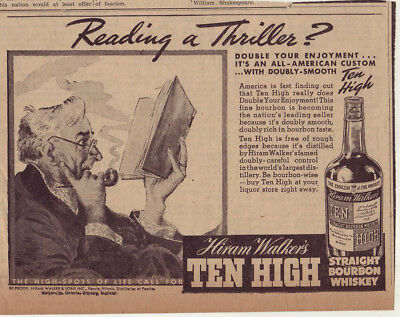 1938 newspaper ad for Ten High Bourbon Whiskey - Senior reads a book thriller