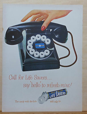 1949 magazine ad for Lifesavers candies - call on the Pep-o-Mint dial telephone!