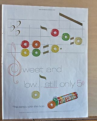 1955 magazine ad for Life Savers Candies - Sweet & Low, candy musical notes