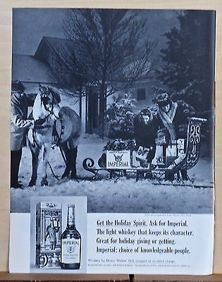 1966 magazine ad for Imperial Whiskey - sleigh delivery at Lake Placid New York