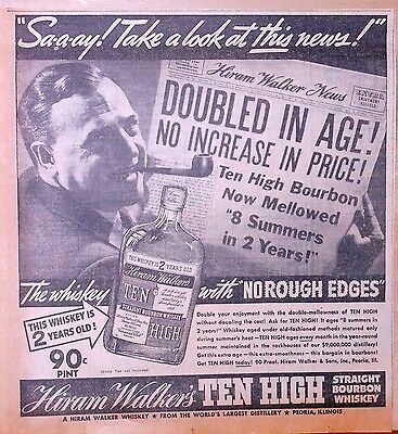 Vintage 1937 newspaper ad - Ten High Bourbon, Mellowed 8 Summers in 2 years