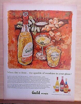 1957 magazine ad for Guild Wines of California - Earl Thollander art, Sherry