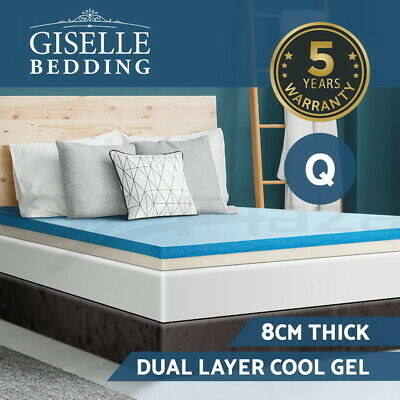 Giselle Bedding 8CM Cool Gel Memory Foam Mattress Topper Dual Layer Cover Queen