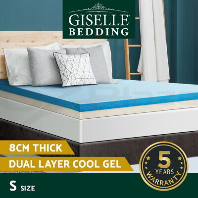 Giselle Bedding 8CM Dual Layer Cool Gel Memory Foam Mattress Topper Cover Single