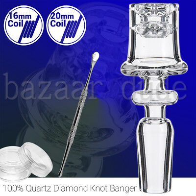 100% Quartz Diamond Knot Banger | 14mm 18mm Female Male | Knots Nail | Tool Jar