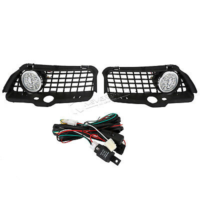 2PCS Fog Light Bumper Ring + Grille 6000K White LED For VW 92-98 MK3 Golf Jetta