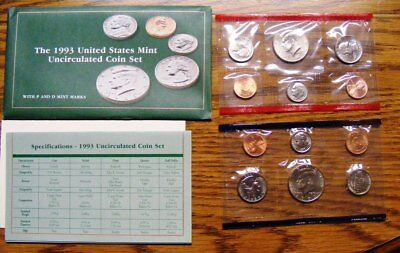 1993 Mint Set Original Envelope 10 US Coins- 1993 Kennedy Half Dollar