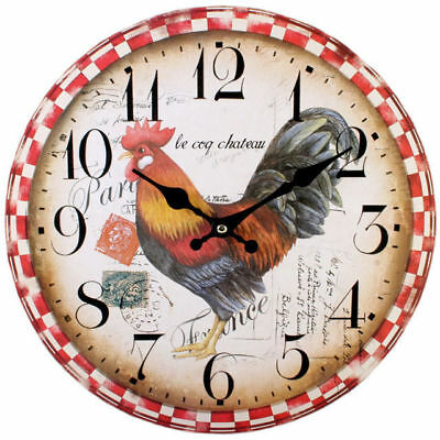 "New Chicken Cockerel Wall Clock Hanging 34Cm 13.4"" Checked Pattern Cl_76311"